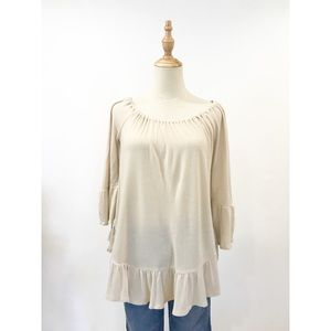 Ecote Urban Outfitters Beige Top Blouse Ruffled